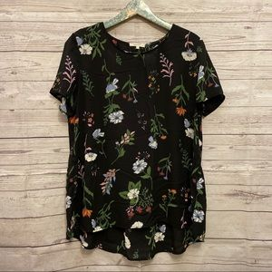 Pleione | black floral blouse